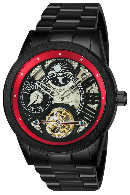Invicta Men's 25264 Objet D Art Automatic 3 Hand Black, Red Dial Watch