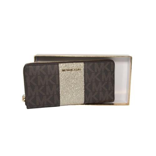 Michael Kors Brown Monogram Gold Glitter Center Stripe Large Travel Wallet 35H7XIJZ9M-200