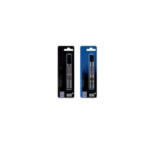 Mont Blanc Rollerball Pen Refill, Med Pt, 2/PK, Blue (MNB107878)