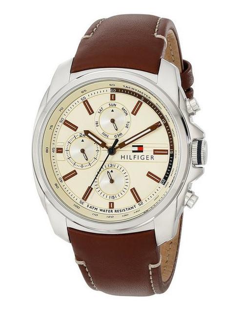 polmonite Più di tutto parte inferiore  Tommy Hilfiger Men's 1710329 Gold-Tone Watch with Brown Leather Strap