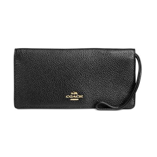 COACH Women's Pebbled Leather Slim Wallet LI/Black 57873-LIBLK
