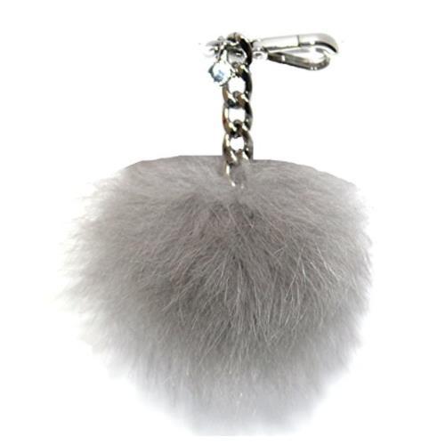 Michael Kors Medium Fur Pom Pom Charm Keychain FOB (Pearl Grey) 35F7SKCK6F-081