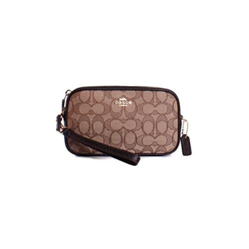 Coach New York Signature Monogram Crossbody Clutch Handbag in Khaki Brown 28325-LIC7C