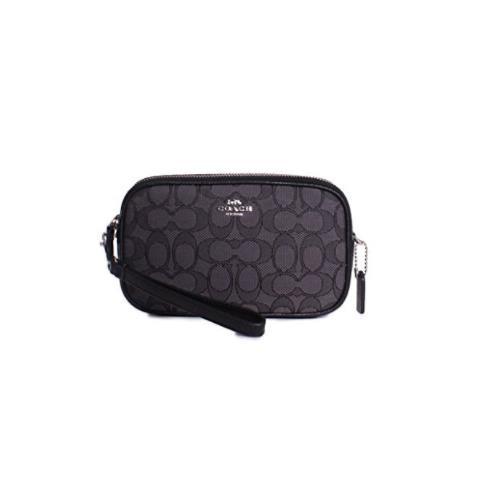 Coach New York Signature Monogram Crossbody Clutch Handbag in Silver Black Smoke 28325-SVDK6