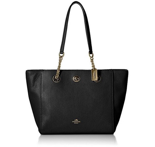 Coach Turnlock Leather Chain Tote, Black  57107-LIBLK