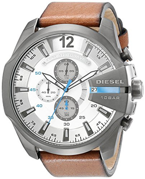 Diesel Herren-Armbanduhr Mega Chief Analog Quarz Leder DZ4280