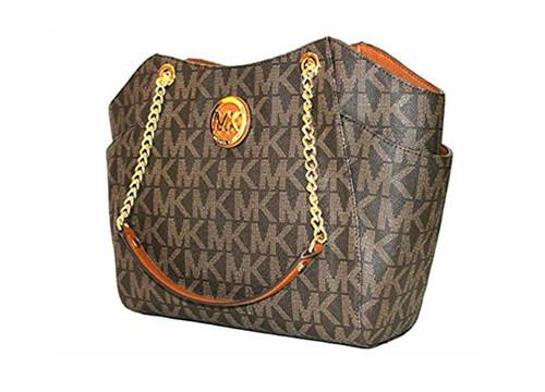 MICHAEL Michael Kors Women's Jet Set Travel Large Chain Shoulder Tote Printed Handbag (Brown/Acorn) …