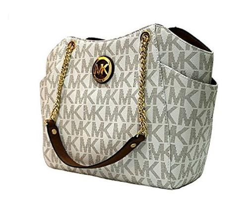 MICHAEL Michael Kors Women's Jet Set Travel Large Chain Shoulder Tote Printed Handbag (Vanilla /Acorn) …