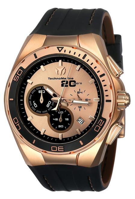 TechnoMarine Men's TM-116001 Cruise Steel Quartz Chronograph Rose Gold, Black Dial Watch