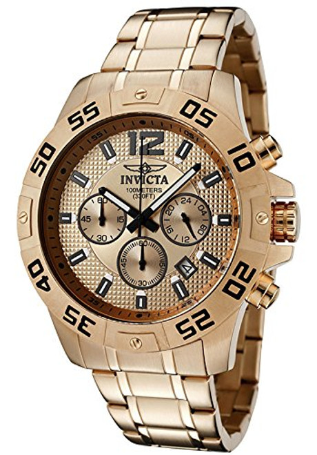 Invicta Men's 1504 Chronograph 18k Rose Gold Ion-Plated Stainless-Steel Watch...