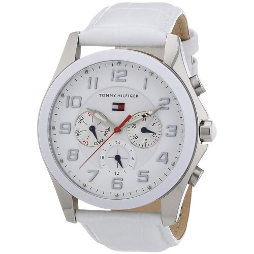 Tommy Hilfiger 1781281 Multi function white dial white leather strap women watch NEW
