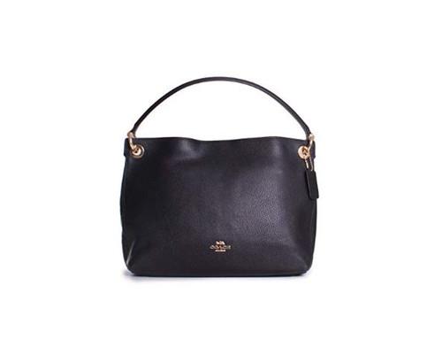 COACH Women's Polished Pebble Leather Clarkson Hobo Li/Black One Size 24947-LIBLK