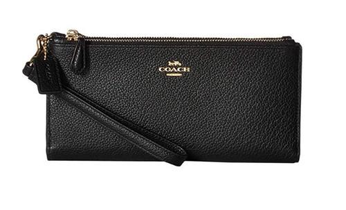 COACH Women's Double Zip Wallet Li/Black One Size 27495-LIBLK