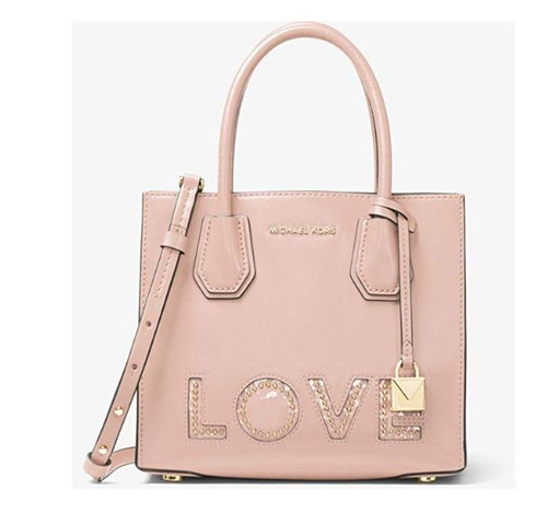 Michael Michael Kors Mercer Leather Medium Love Detailed Messenger Handbag in Soft Pink 30H7GM9M60-187