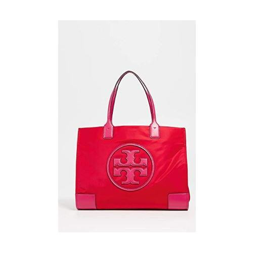 Tory Burch Ella Colorblock Nylon Logo Tote Bag, Red/Azalea, Women's 52460-625