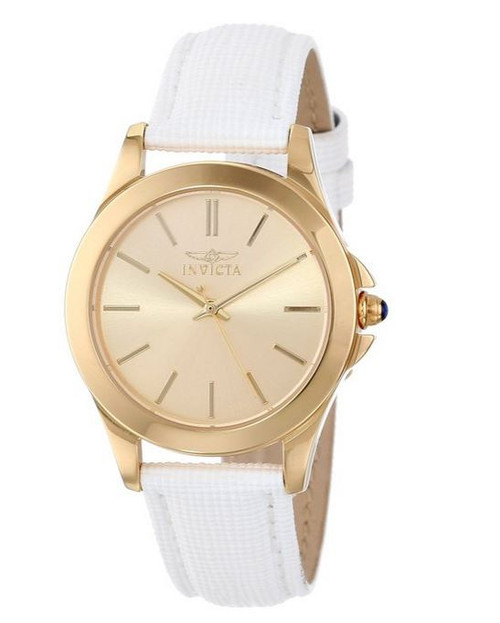 Invicta Women's 15149 Angel 18k Yellow Gold Ion-Plated Stainless Steel and White Leather Watch