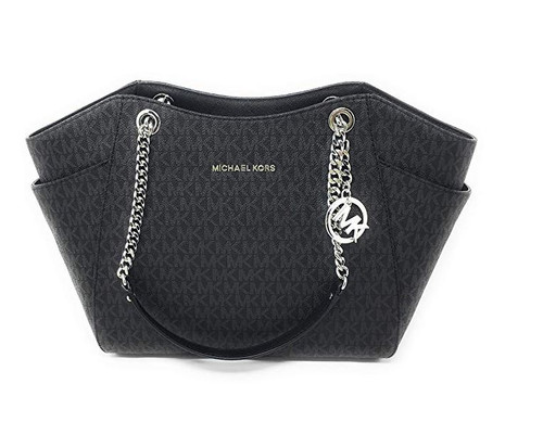 MICHAEL Michael Kors Women's Jet Set Travel Large Chain Shoulder Tote Printed Handbag (Black)  …