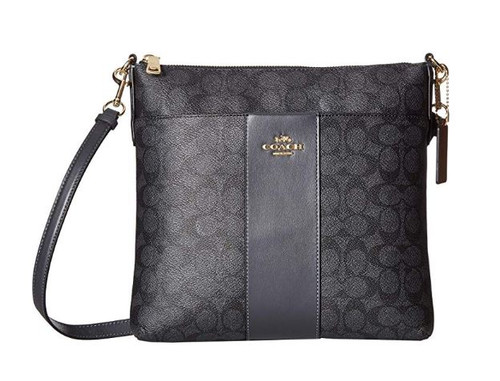 COACH Women's Color Block Coated Canvas Signature Large Messenger Crossbody Li/Charcoal Midnight Navy One Size 39409-LIO3N