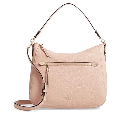 Kate Spade New York Jackson Street Quincy Gingertea Finely Pebbled Leather Hobo Shoulder Bag PXRU9421-215