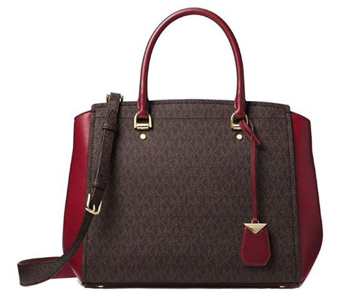 MICHAEL Michael Kors Benning Large Logo And Leather Satchel Brown/Red 30F8GN4S3B-BRNMR