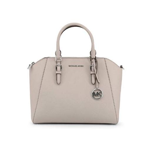 Michael Kors Large Ciara Top Zip Womens Saffiano Leather Satchel (CEMENT) 35H5SC6S3L-092