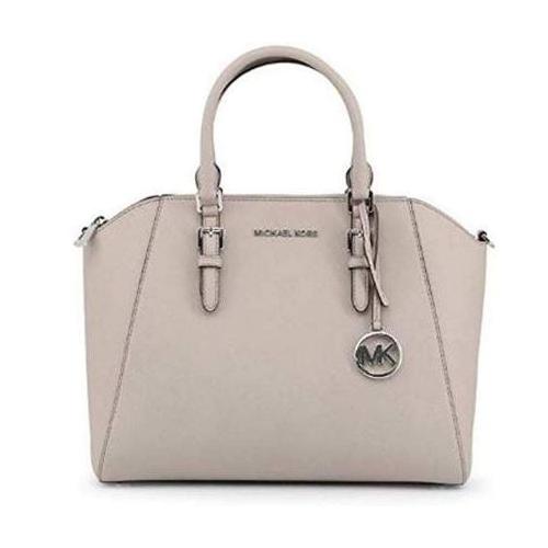 Michael Kors Large Ciara Top Zip Womens Saffiano Leather Satchel (Pearl Grey) 35H5SC6S3L-081