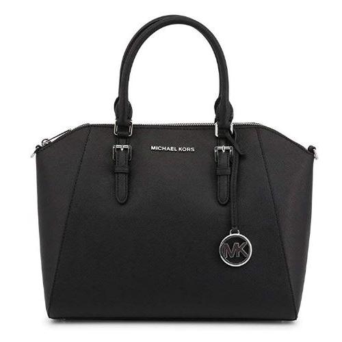 Michael Kors Ciara Large Top Zip Saffiano Leather Satchel (Black) 35H5SC6S3L-001