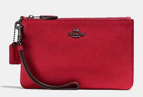 COACH Polished Pebble Small Wristlet Red Apple/Gunmetal One Size 22952-GMP1Y