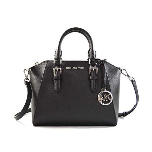 Michael Kors Ciara Medium Saffiano Leather Messenger Crossbody Bag Purse Handbag (Black) 35S8SC6M2L-001