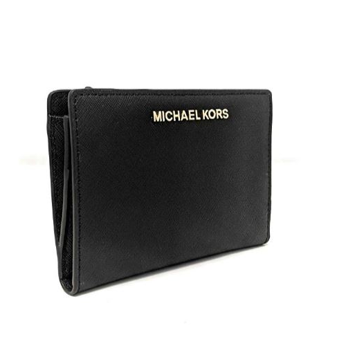 Michael Kors Jet Set Travel Leather Medium Card Case Carryall with Removable Card Holder (Black) 35F8GTVD8L-001