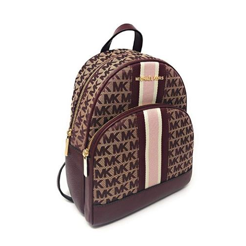 Michael Kors Abbey Medium Jacquard Leather Signature Stripe Backpack Oxblood Red 35F9GAYB6J-610
