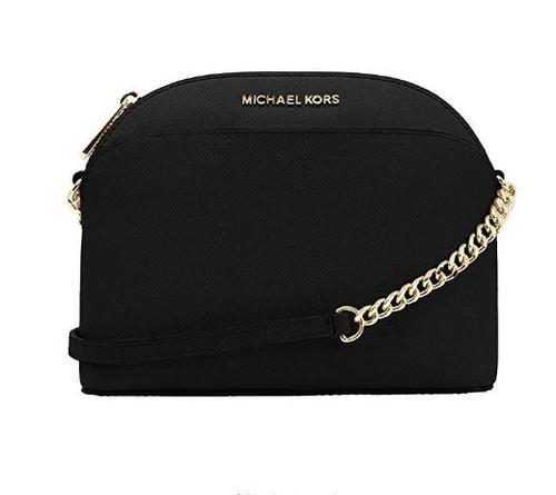 Michael Kors Emmy Saffiano Leather Medium Crossbody Bag (Black Saffiano) 35S9GTVC2L-001