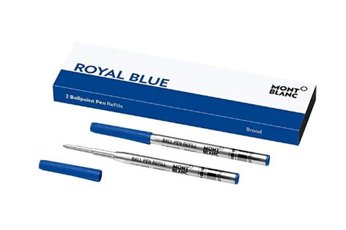 Montblanc Ballpoint Pen Refills (B) Royal Blue 124491 – Refill Cartridges with a Broad Tip for Montblanc Ball Pens – 2 x Blue Ballpoint Refills …