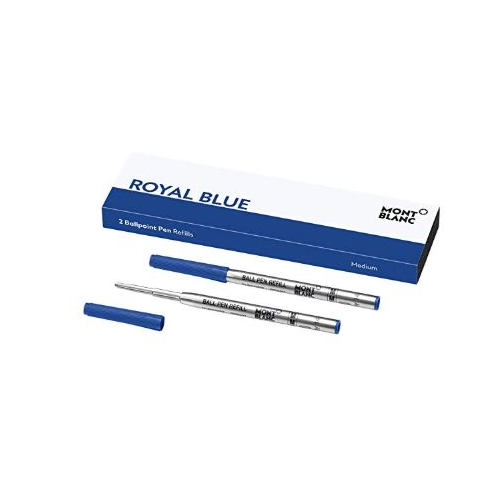 Montblanc Ballpoint Pen Refills (M) Royal Blue 124493 – Refill Cartridges with a Medium Tip for Montblanc Ball Pens – 2 x Blue Ballpoint Refills …