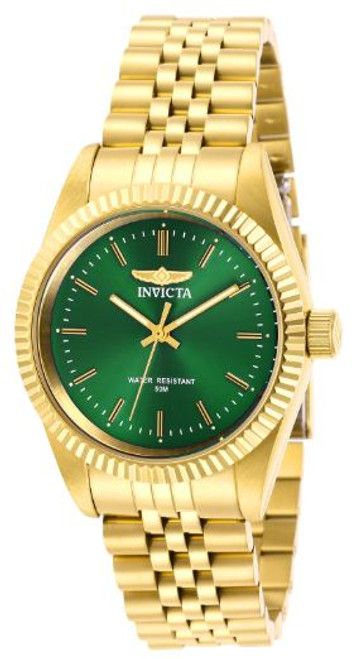 Invicta Lady 29408 Specialty Quartz 3 Hand Green Dial Watch