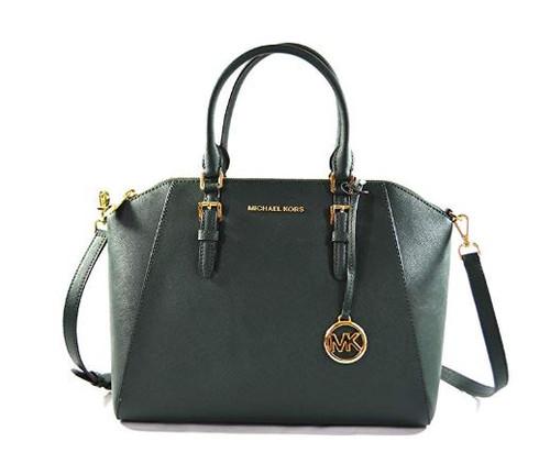Michael Kors Ciara Large Top Zip Satchel Saffiano Leather Handbag (Racing Green) 35H5GC6S3L-RACIN
