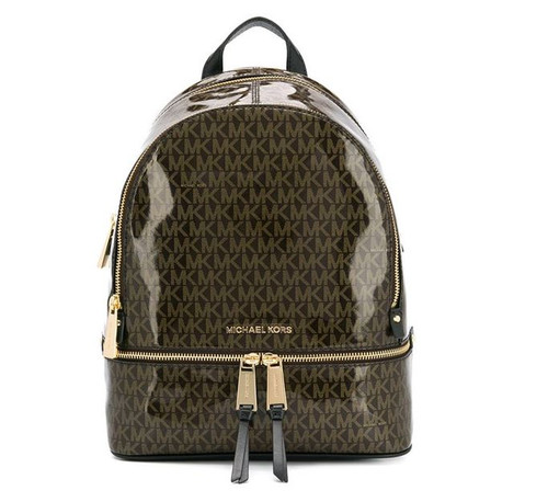 Michael Kors 30H8GEZB2V-790 Rhea Medium Glossy Signature Backpack (Brown)