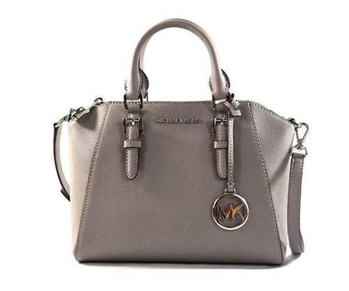 Michael Kors Ciara Medium Saffiano Leather Messenger Crossbody Bag Purse Handbag (Pearl Grey)