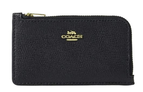 COACH Boxed Small L-Zip Card Case Black/Gold One Size 78387B-GDBLK
