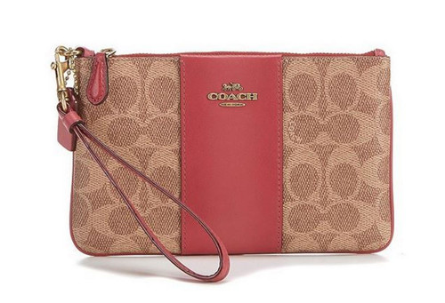 OACH Boxed Color-Block Signature Small Wristlet Tan Dusty Pink/Brass One Size 32445B-B4PEX