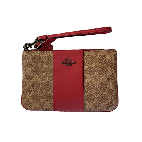 COACH Women's Color Block Coated Canvas Signature Small Wristlet V5/Tan Red Apple One Size 32445-V5P22