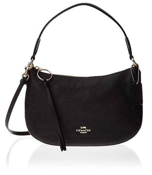 COACH Polished Pebble Leather Sutton Crossbody Black/Gold One Size 52548-GDBLK
