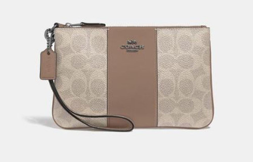 Caoch Small Wristlet In Colorblock Signature Canvas LH/Sand Taupe 32445-LHPVT