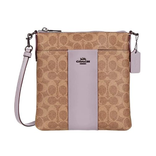 COACH Messenger Crossbody In Colorblock Signature Canvas V5/Tan Soft Lilac One Size 41321-V5PUJ