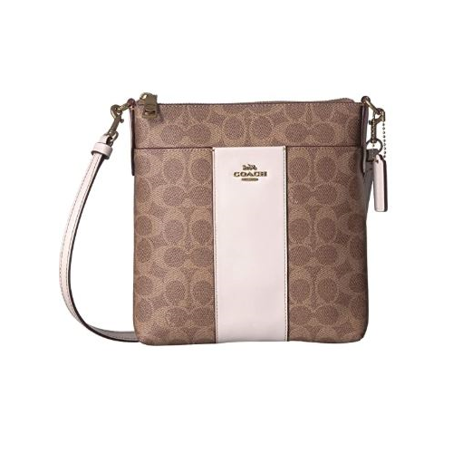 COACH Messenger Crossbody In Colorblock Signature Canvas Tan/Chalk/Brass One Size 41321-B4NQ5