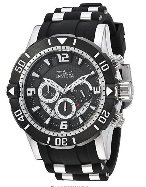 Invicta Men's Pro Diver Stainless Steel Quartz Diving Watch with Polyurethane Strap, Black, 26 (Model: 23696) …