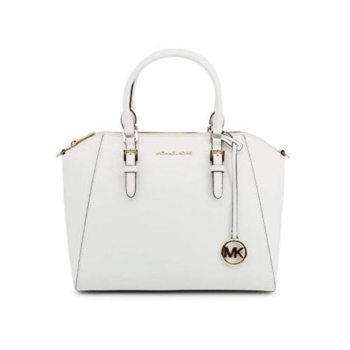 Michael Kors Large Ciara Top Zip Saffiano Leather Stachel (OPTIC WHITE) 35H5GC6S3L-085
