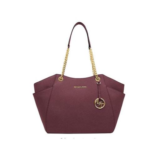 Michael Kors Women's Jet Set Travel Saffiano Leather Large Chain Shoulder Tote Bag Handbag Purse, Merlot