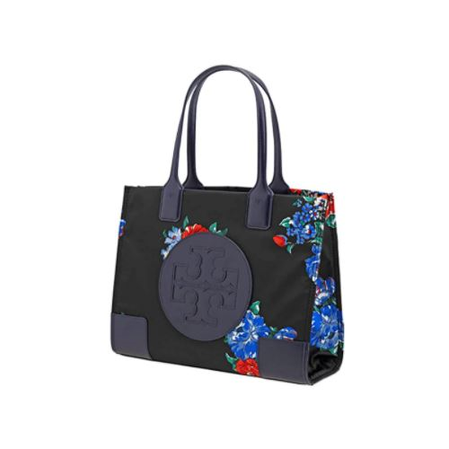 Tory Burch Ella Mini Printed Tote- Black Tea Rose …