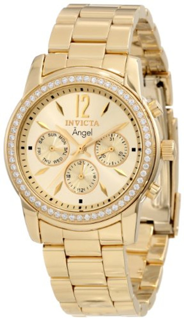 Invicta Women's 11770 Angel Gold Dial 18k Gold Ion-Plated Stainless Steel Wat...